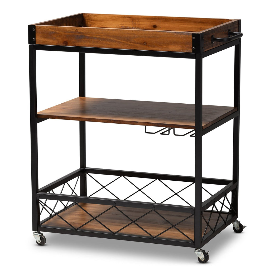 Capri Vintage Metal Bar Cart with Stemware Rack - Modn City