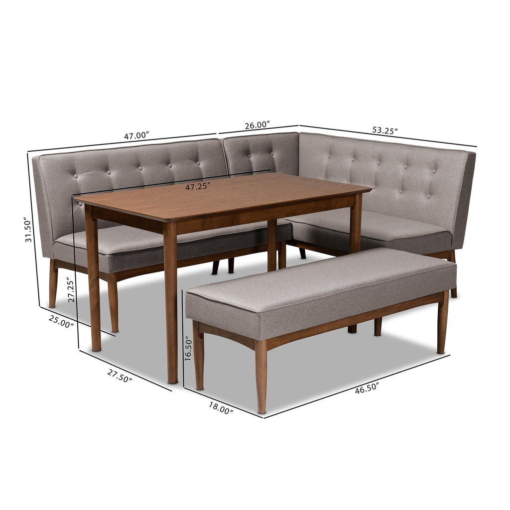Arvid Mid-Century Modern 4-Piece Dining Nook Set - Modn City