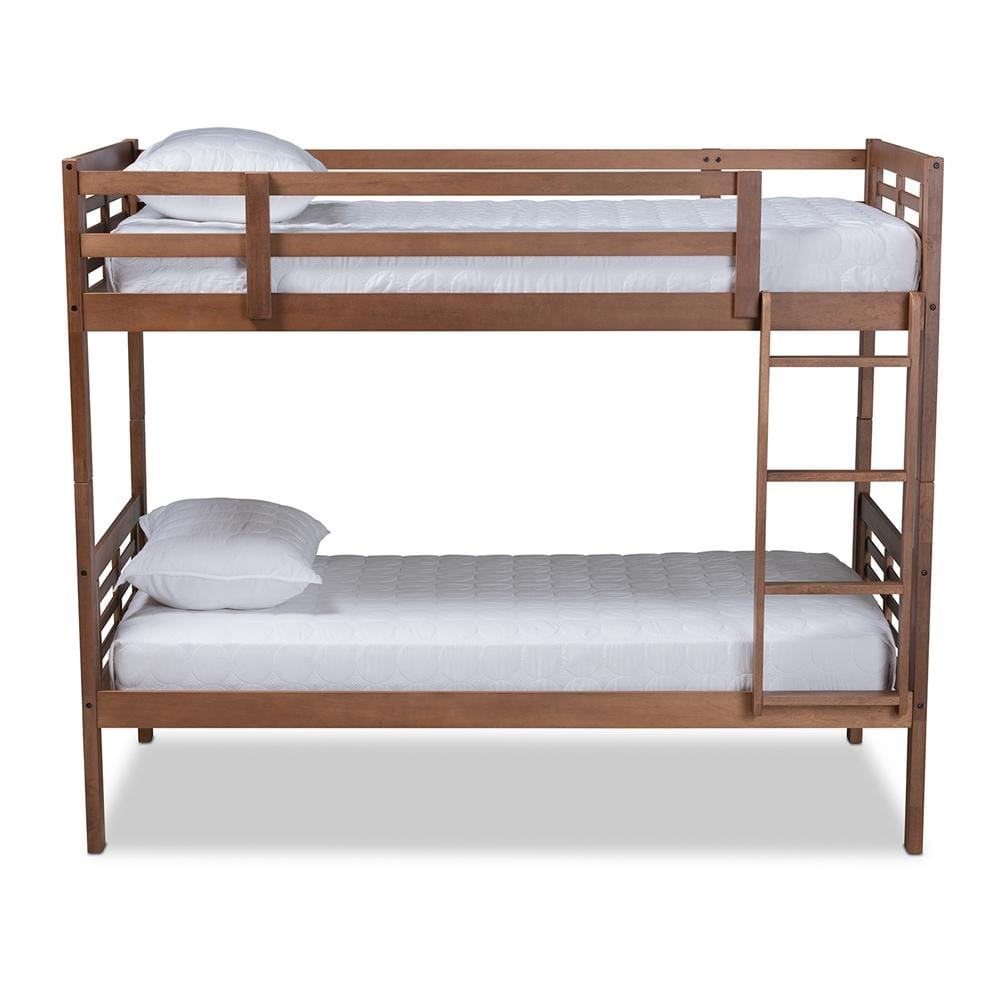 Liam Contemporary Twin Size Bunk Bed-Walnut Brown - Modn City