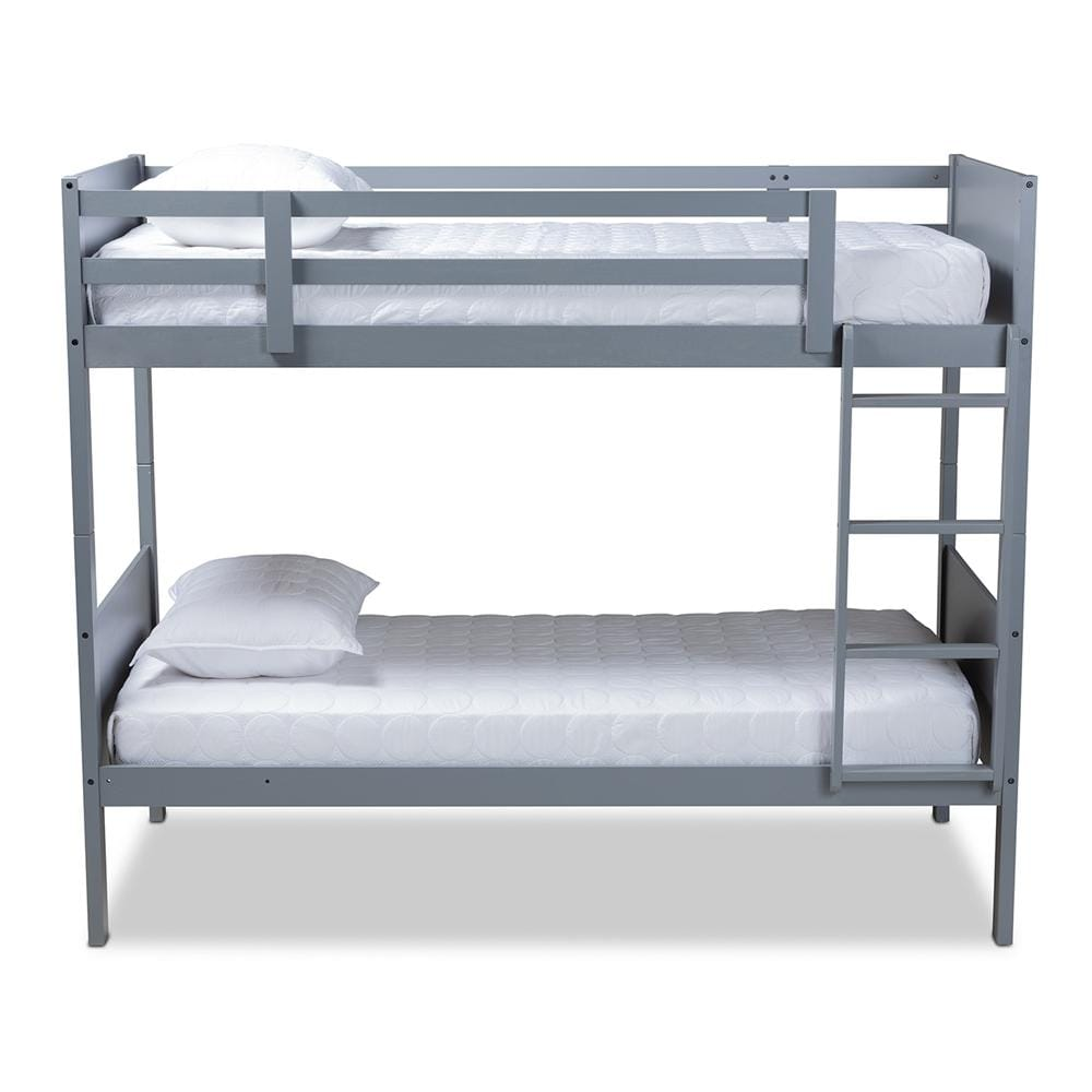 Elsie Modern Twin Size Bunk Bed-Grey - Modn City