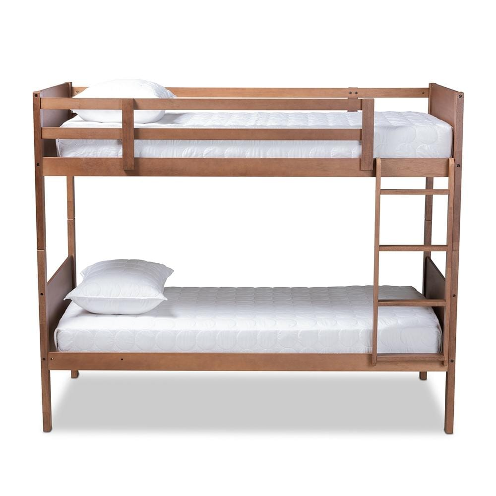Elsie Modern Twin Size Bunk Bed-Walnut Brown - Modn City