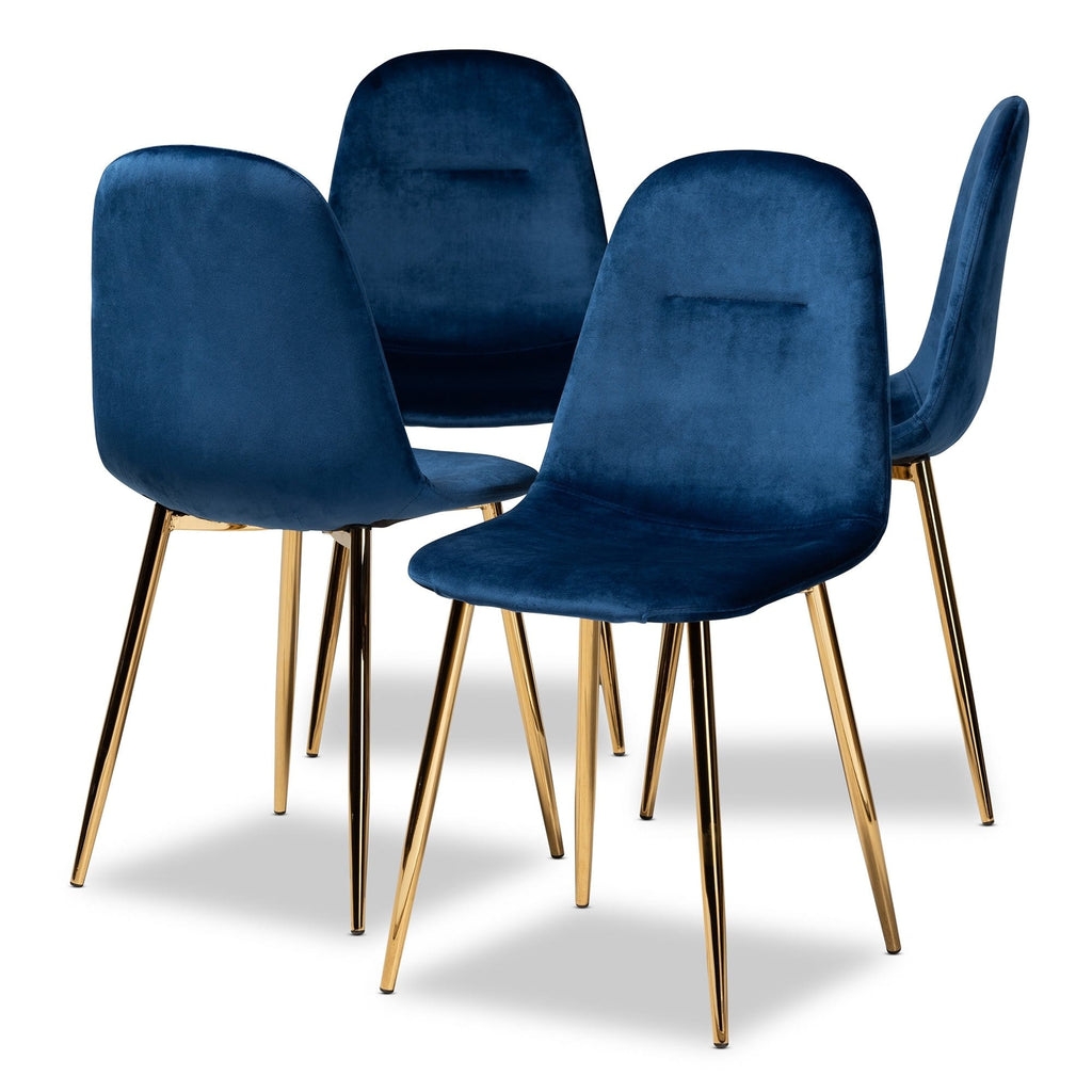 Elyse 4-Piece Metal Dining Chair Set-Navy Blue - Modn City