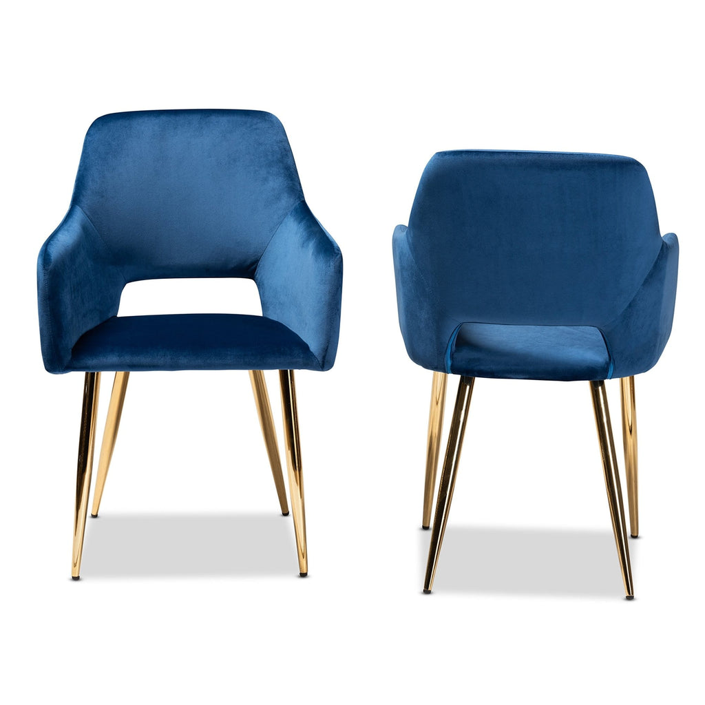 Germaine Luxe Dining Chair (Set of 2) Navy Blue - Modn City