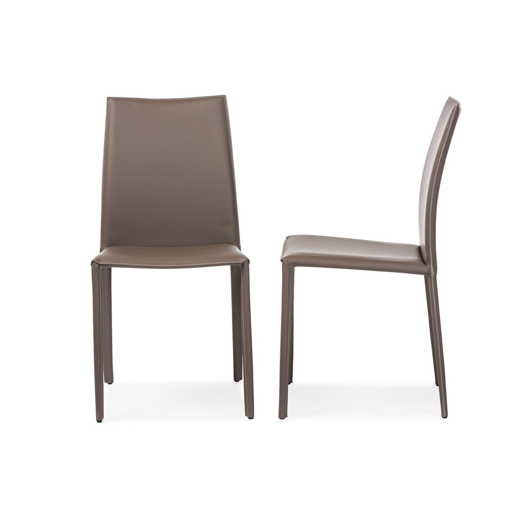 Baxton Studio Rockford Modern and Contemporary Taupe Bonded Leather Upholstered Dining Chair (Set of 2) - Modn City