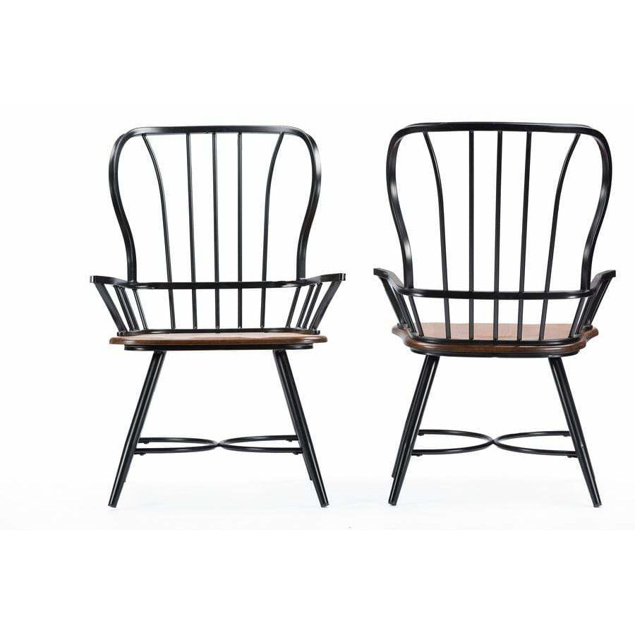 "Longford ""Dark-Walnut"" Wood and Black Metal Dining Arm Chair (Set of 2) - Modn City"