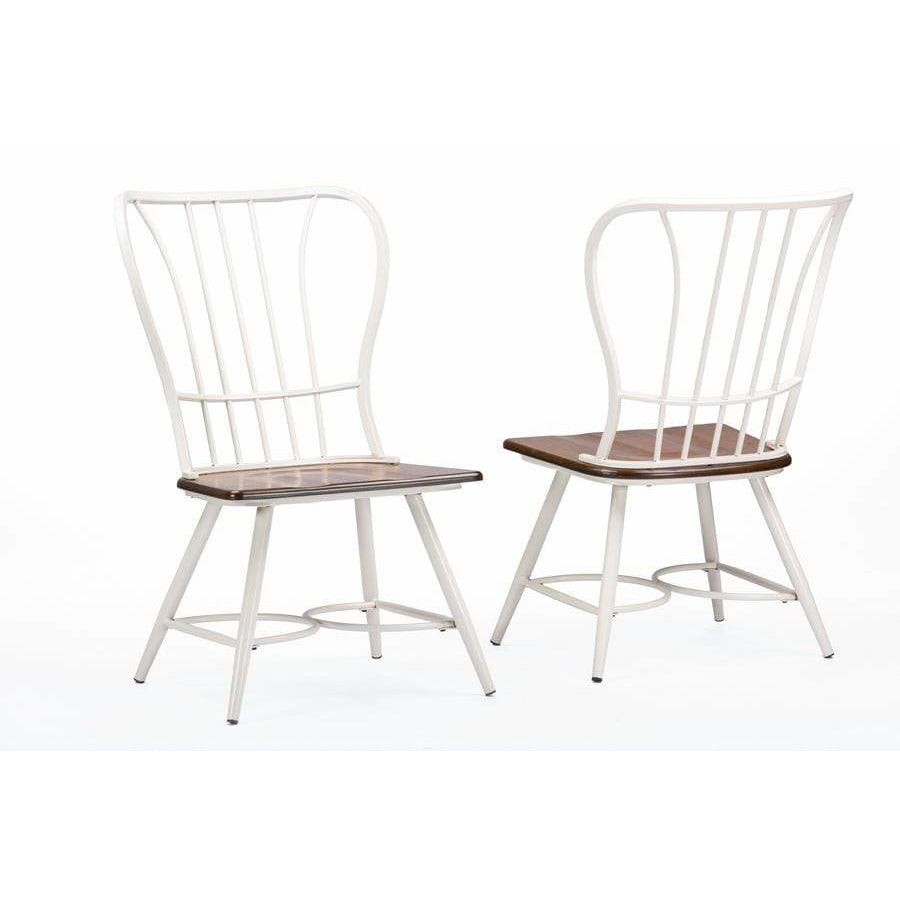 "Longford ""Dark-Walnut"" Wood and White Metal Dining Chair (Set of 2) - Modn City"