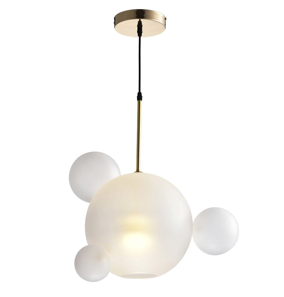 Salome Pendant Lamp - 1 Big & 3 Small Cream/White Glass Shades - Modn City