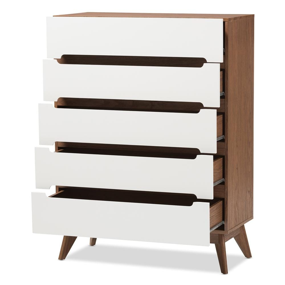 Calypso Mid-Century Modern Five-Drawer Chest-White and Walnut Finish - Modn City