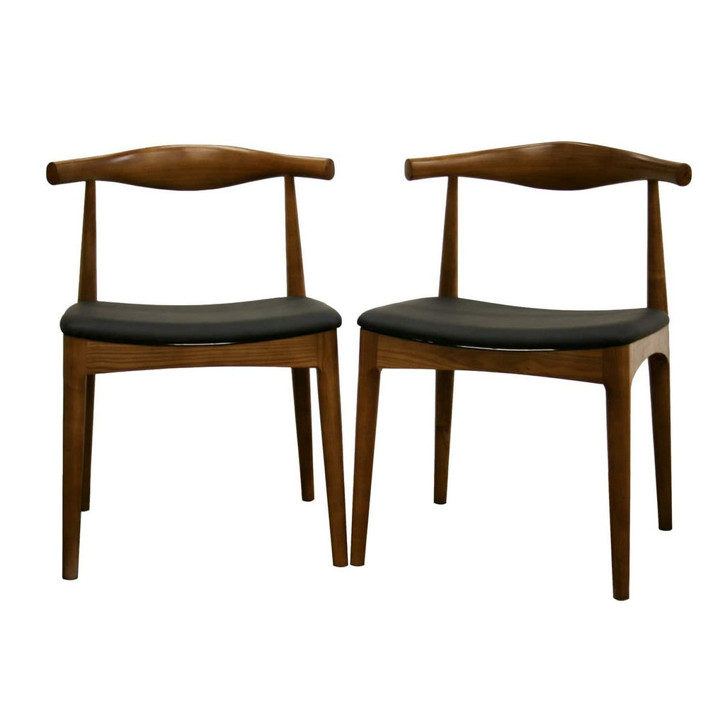 Baxton Studio Sonore Solid Wood Mid-Century Style Accent Chair Dining Chair Set of 2 - Modn City