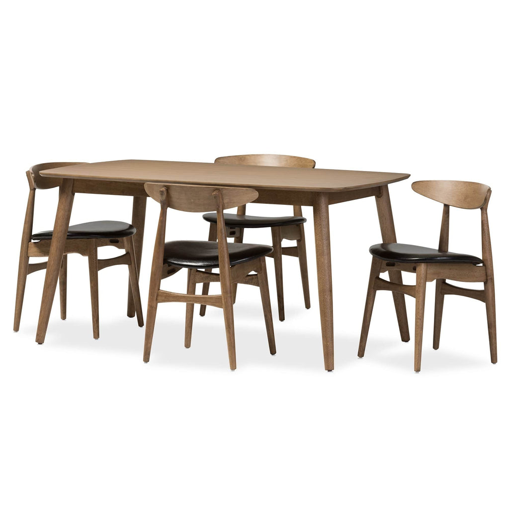 Edna Mid-Century Modern 5-Piece Dining Set-Black Faux Leather and Oak Light Brown - Modn City