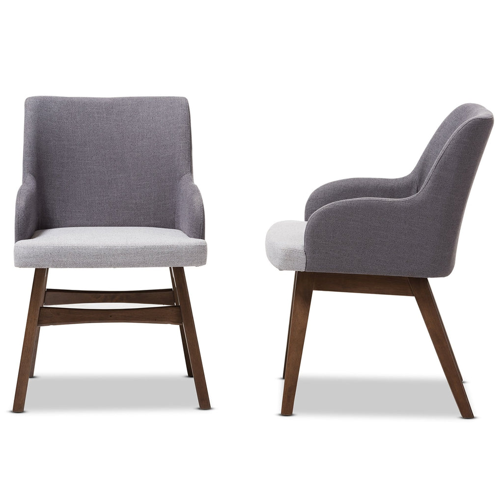Monte Mid-Century Modern Two-Tone Grey Fabric Armchair (Set of 2) - Modn City