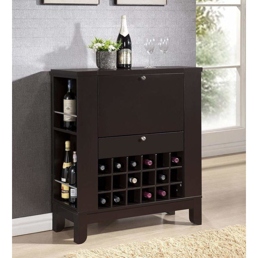 Modesto Brown Modern Dry Bar and Wine Cabinet - Modn City