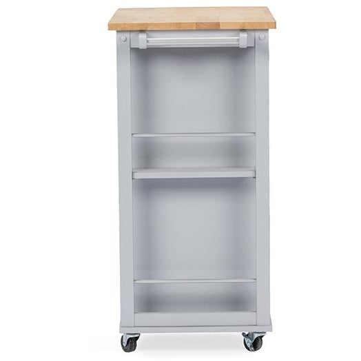 Baxton Studio Yonkers Contemporary Light Grey Kitchen Cart with Wood TopOne (1) Kitchen Cart - Modn City
