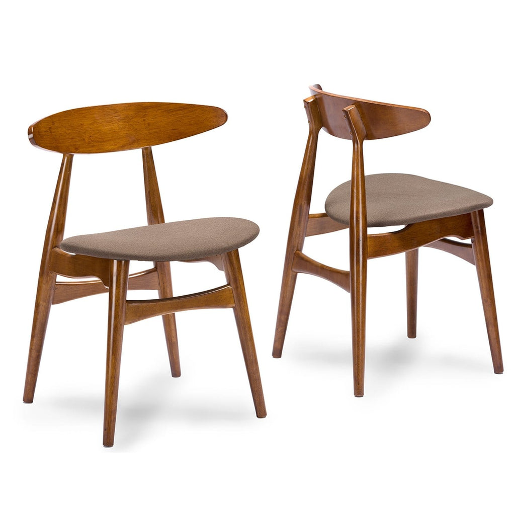 Flamingo Mid-Century Dark Walnut Wood Dining Chair (Set of 2) - Modn City