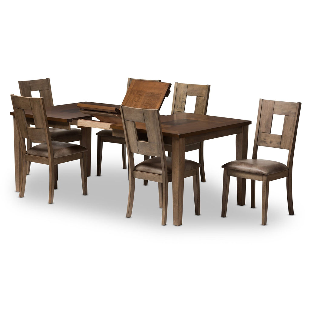 "Baxton Studio Gillian Shabby Chic Country Cottage Weathered Grey and ""Oak"" Brown 2-Tone Finishing Wood Veneer Top 7-Piece Extendable Dining Set - Modn City"