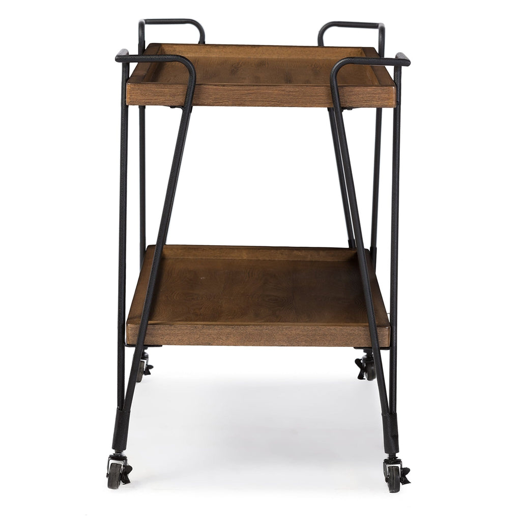 Baxton Studio Distressed Ash Wood Mobile Serving Bar Cart - Modn City