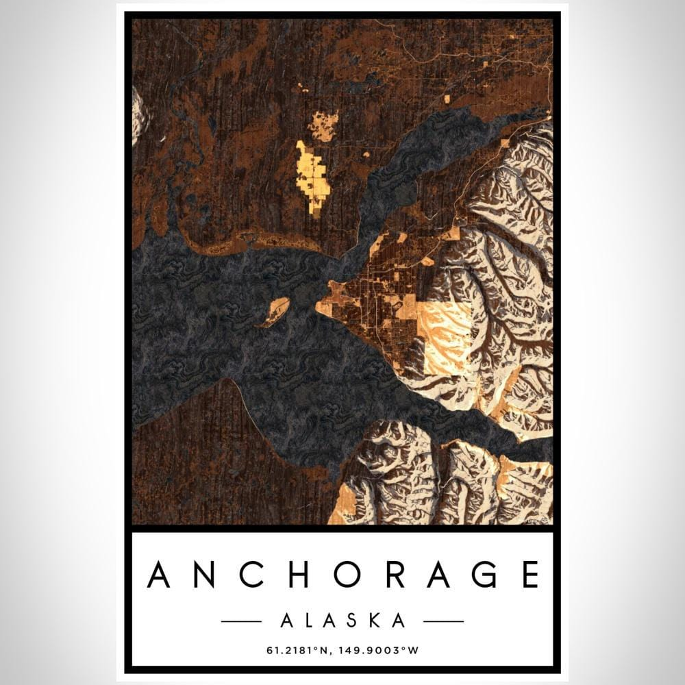 Anchorage - Alaska Map Print in Ember - Modn City
