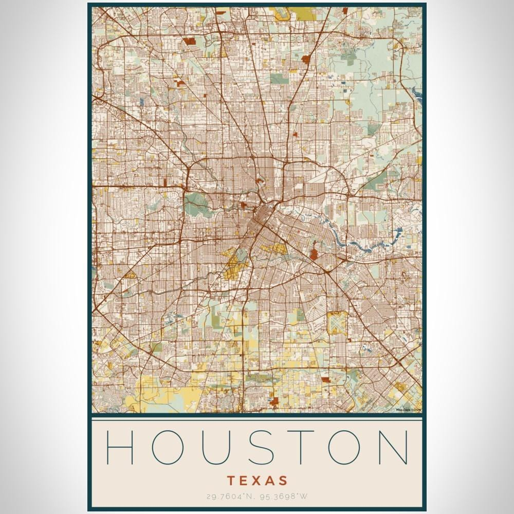 Houston - Texas Map Print in Woodblock - Modn City