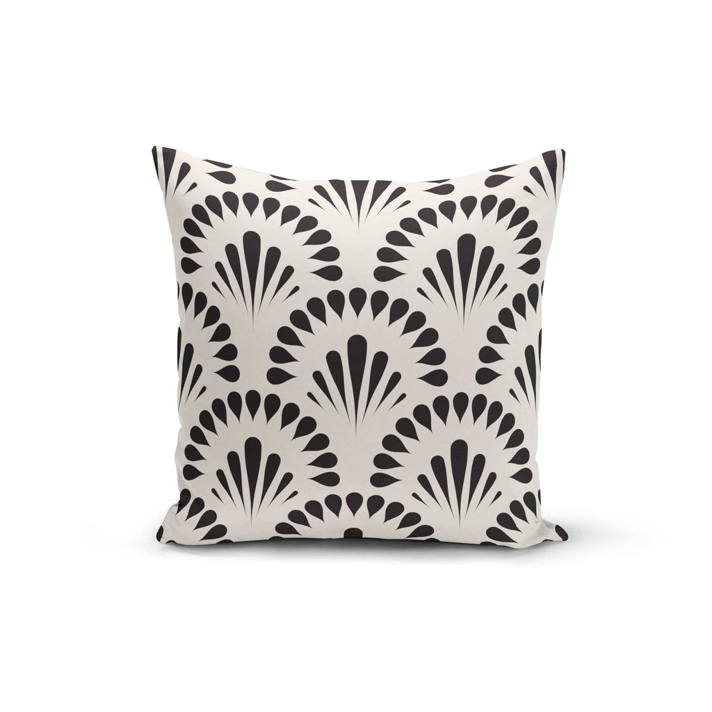 Black Cream Floral Pillow Cover - Modn City
