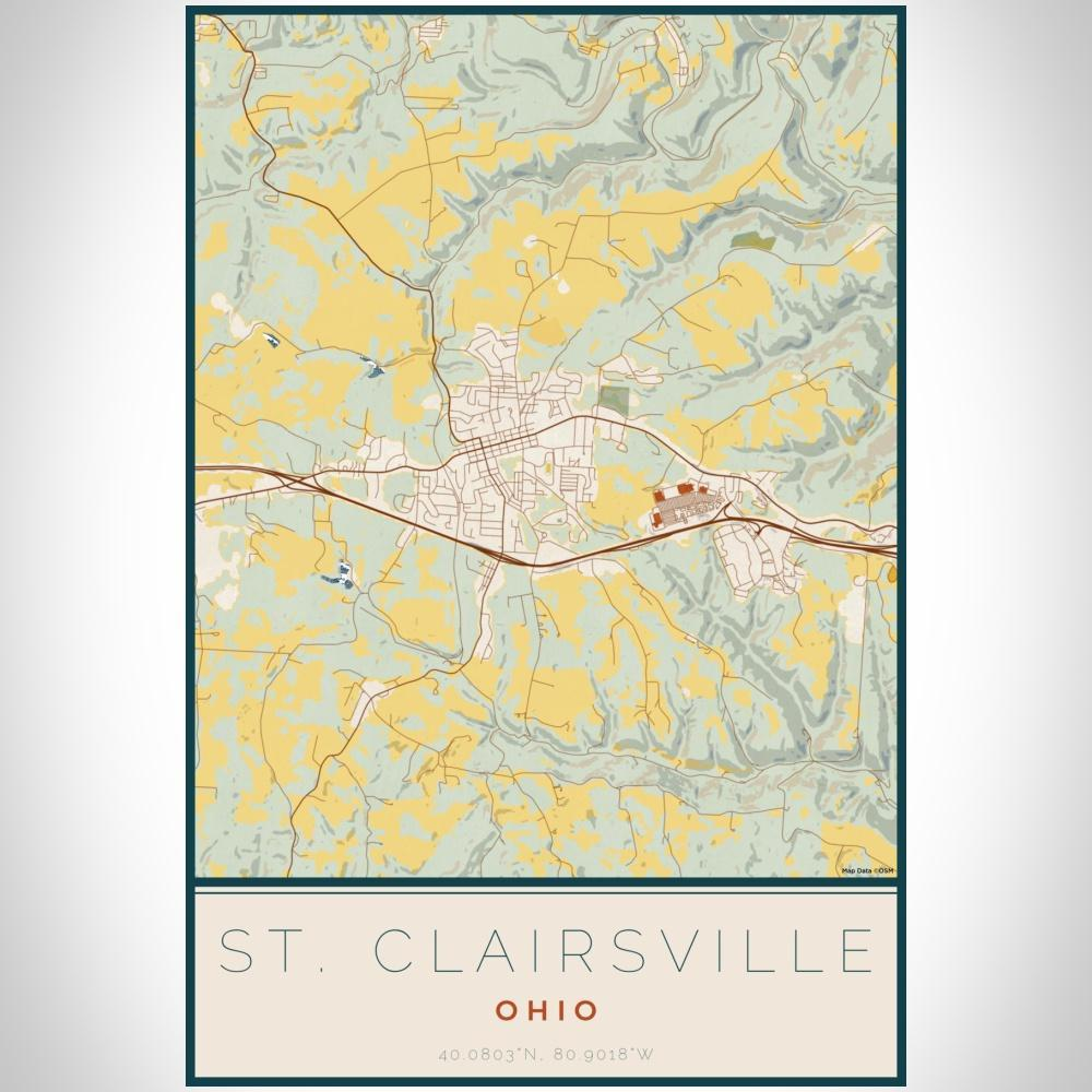 St. Clairsville - Ohio Map Print in Woodblock - Modn City