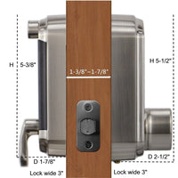 D2 Touchscreen Keypad Deadbolt with Key Fob Access, Satin Nickel