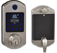 D6 Fingerprint Touchscreen Key Fob Deadbolt with OLED Display in Satin Nickel