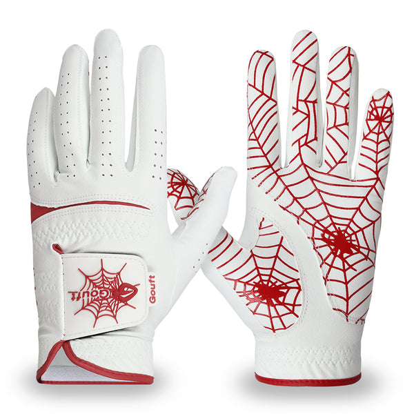 GOuft Spider Web Golf Glove White Edition- Red