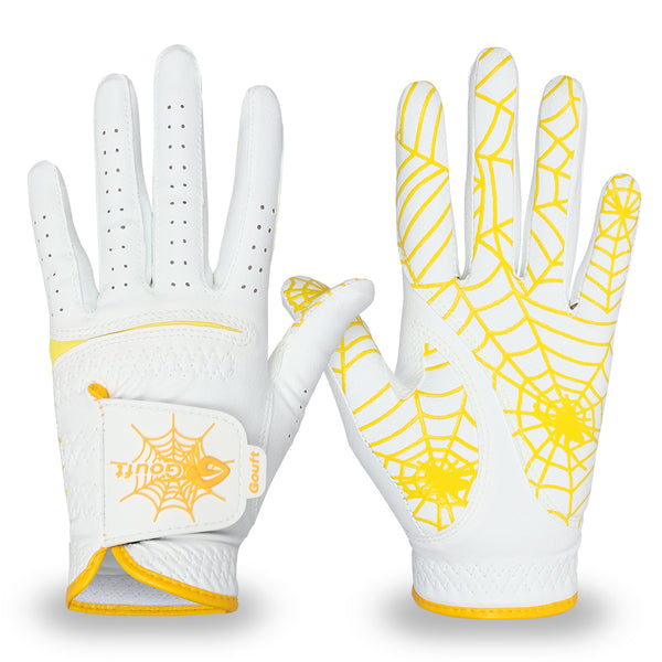 GOuft Spider Web Golf Glove White Edition- Yellow