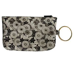 Ring Clutch - B&W Floral Printed Fur