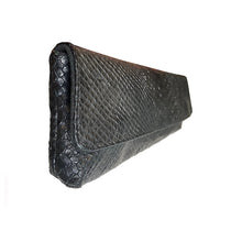 Load image into Gallery viewer, Baguette Clutch  - Black Snake