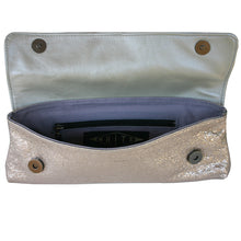 Load image into Gallery viewer, Baguette Clutch  - Ivory Crinkle Metallic