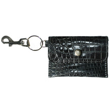 Load image into Gallery viewer, Coin Purse Key Chain - Black Alligator