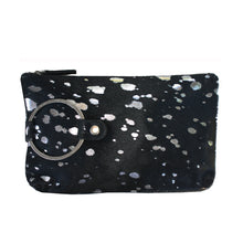 Load image into Gallery viewer, Ring Clutch - Black & Silver Fur