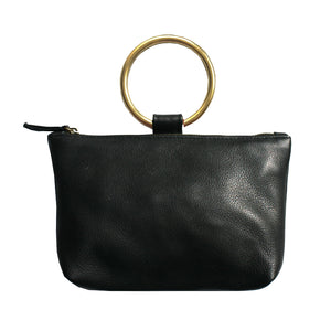 Ring Wristlet - Soft Black Leather with Brass