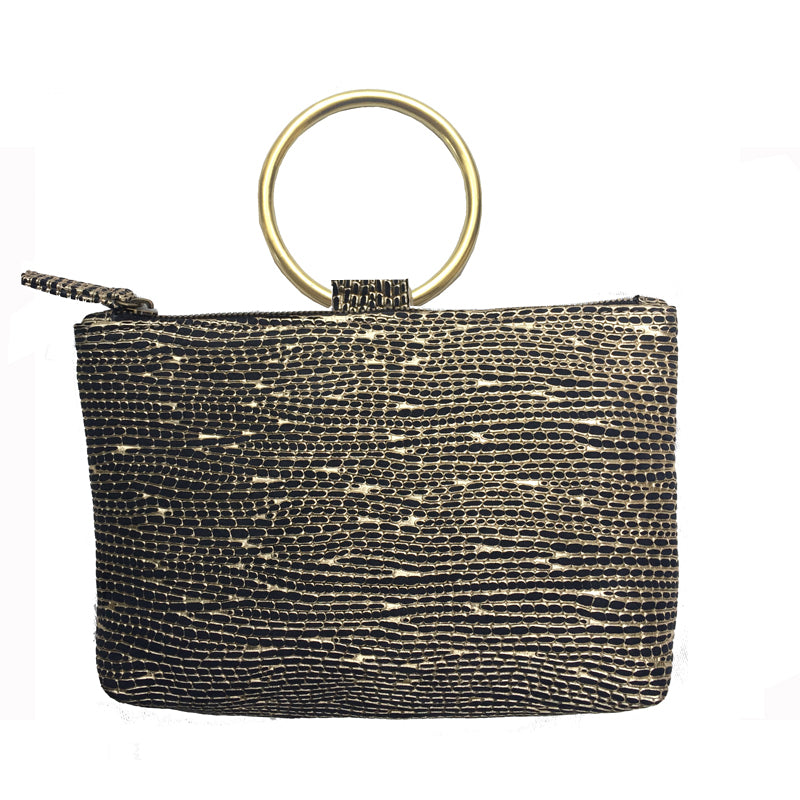 Ring Wristlet - Black & Gold Fancy