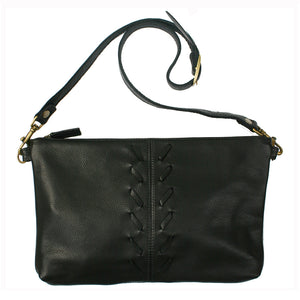 Laced Detail Bag  - Black Leather