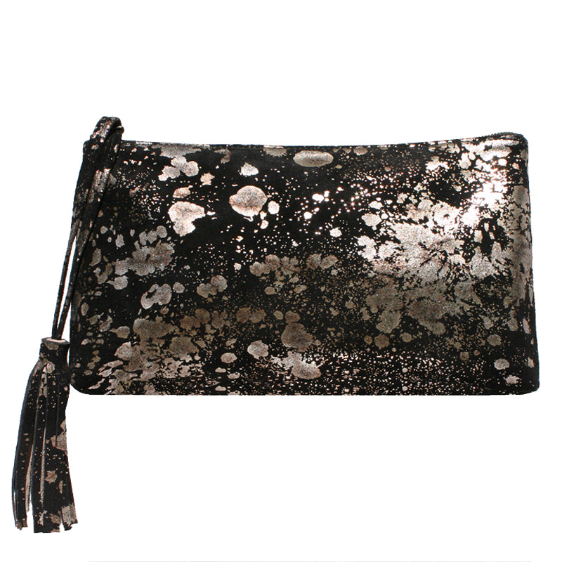 Large Tassel Clutch - Black Metallic Splash