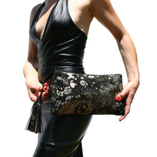 Load image into Gallery viewer, Large Tassel Clutch - Black Metallic Splash