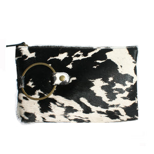 "Ring Clutch - Black & White ""Pony"" Fur"