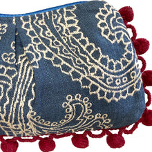 Load image into Gallery viewer, Blue wCream Embroidery Pom Pom Bag