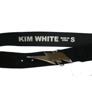 Lightning Bolt Belt - Black Suede wAntique Nickel