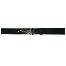 Load image into Gallery viewer, Lightning Bolt Belt - Black Suede wAntique Nickel