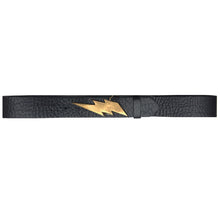 Load image into Gallery viewer, Lightning Bolt Belt - Black with Antique Brass Buckle