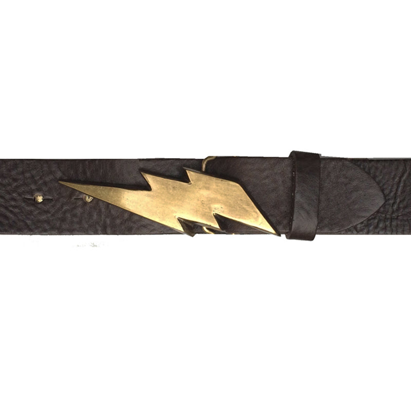 Lightning Bolt Belt - Chocolate with Antique Brass Buckle