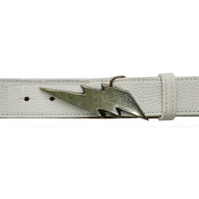 Load image into Gallery viewer, Lightning Bolt Belt - White with Antique Nickel Buckle
