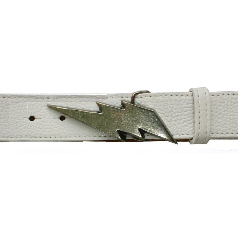 Lightning Bolt Belt - White with Antique Nickel Buckle