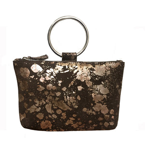 Ring Wristlet - Brown Metallic Splash