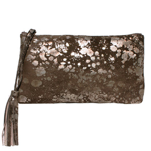 Large Tassel Clutch - Brown Metallic Splash