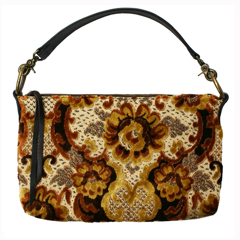 Slouchy Bag - Vintage Brown Plush Floral