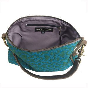 Slouchy Bag - Vintage Blue & Green Quilted